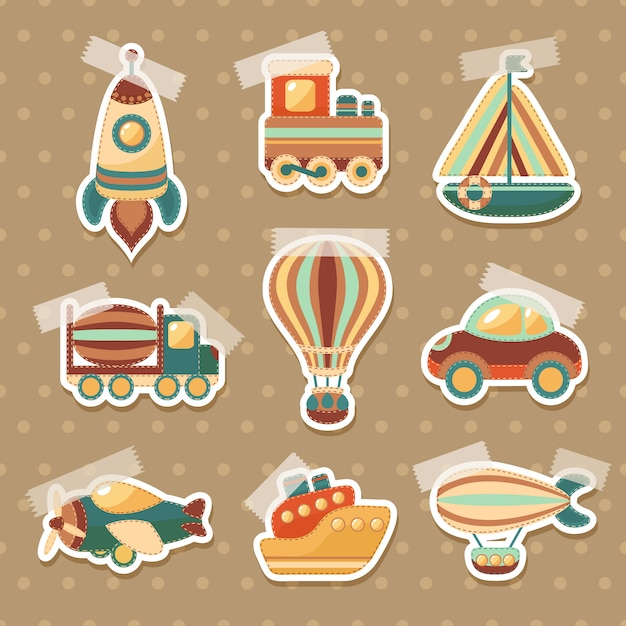 Transport toy stickers set Free Vector