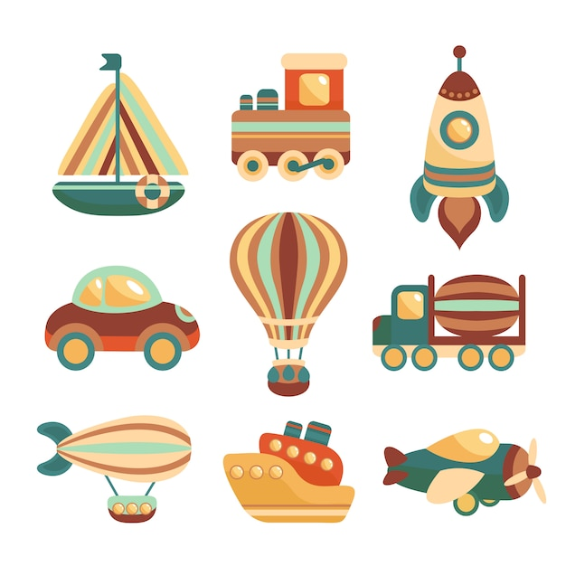 Transport toys elements set Free Vector