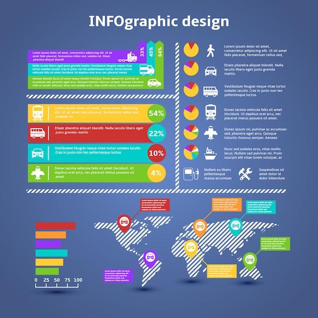 Transport traffic infographics elements Free Vector