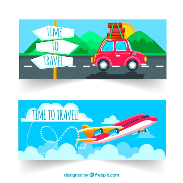 Transport and travel banners Free Vector