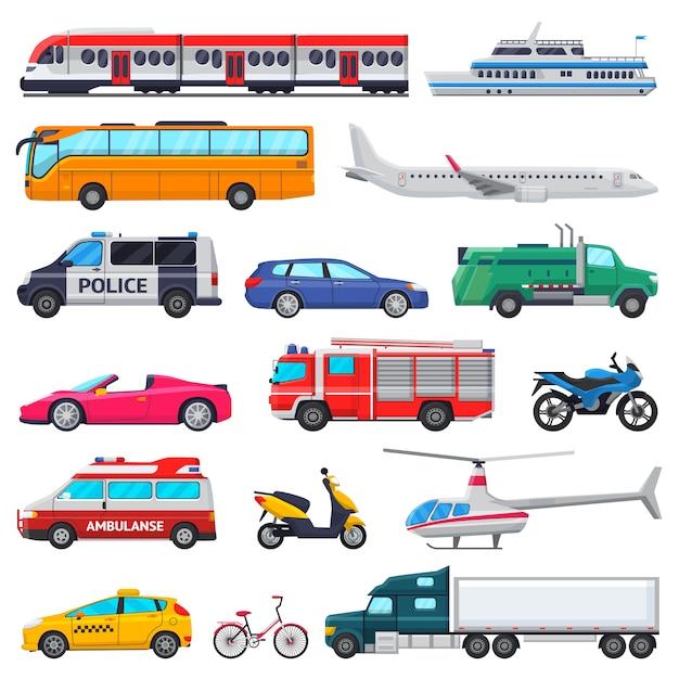 輸送ベクトル公共輸送車両飛行機または電車と車または自転車の救急車消防車と白で隔離されるパトカーの都市図セットでの輸送 Premiumベクター