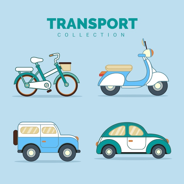 Transport vehicles collection Premium Vector