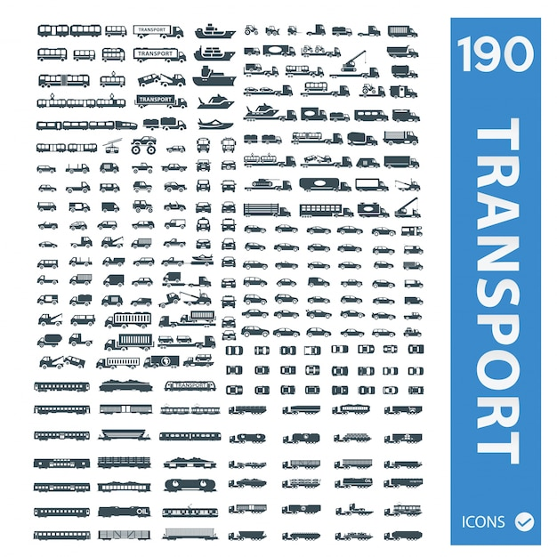 Transport vehicles icons collection Premium Vector