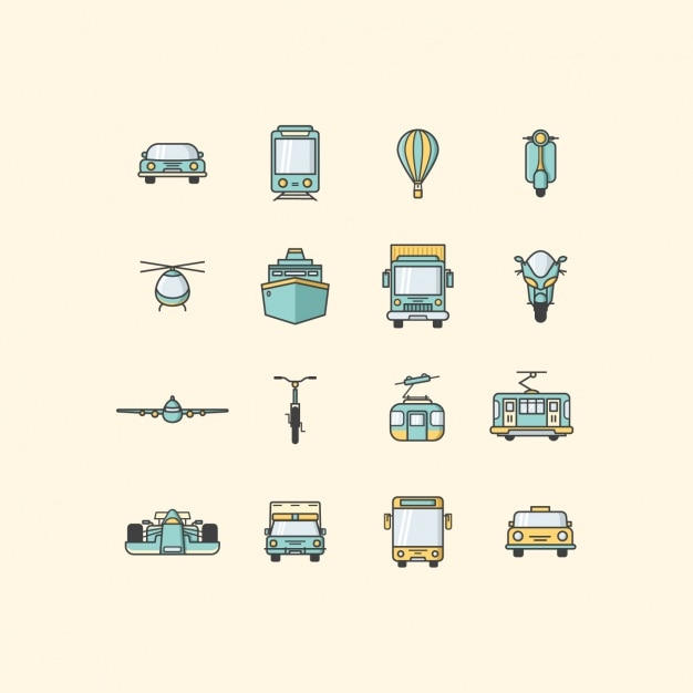 Transport vehicles icons collection Free Vector