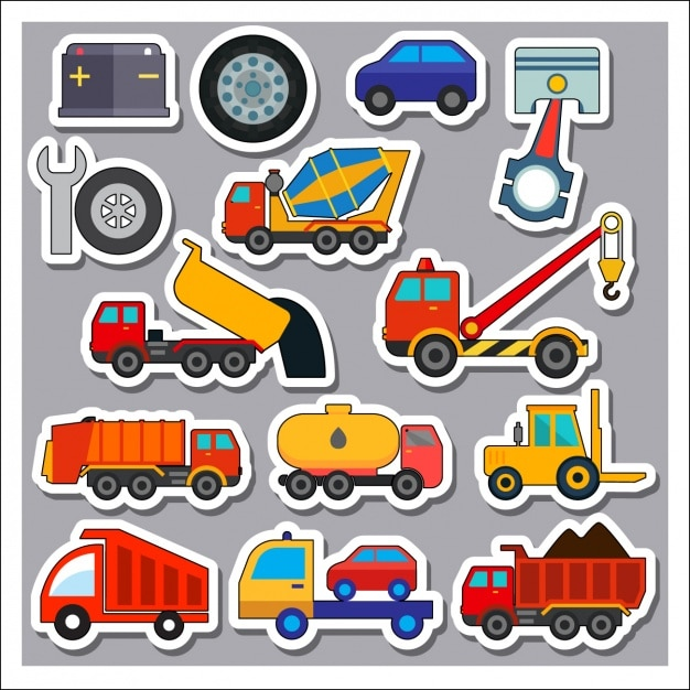 Transport Vehicles Stickers Colelction Vector Free Download