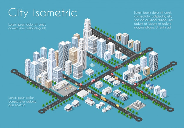 Transportation 3d city Premium Vector