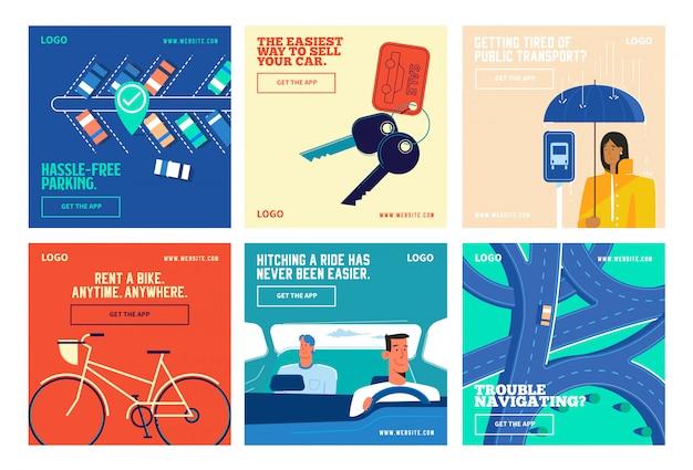 Transportation app social media post collection instagram Premium Vector