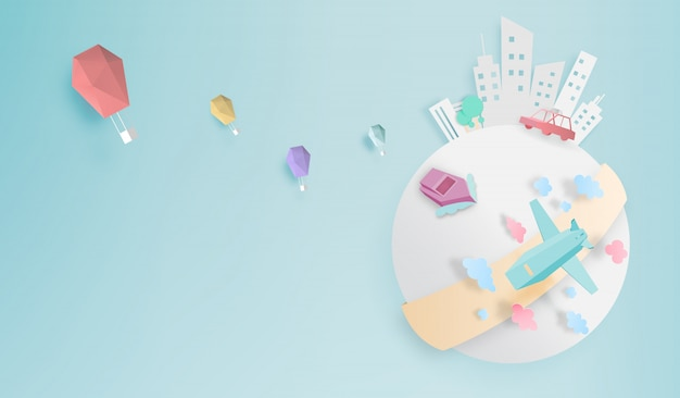 Transportation around the world with city paper art style Premium Vector