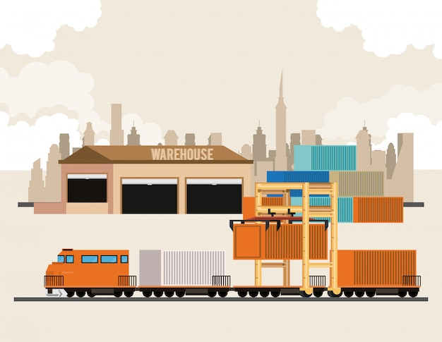 Transportation cargo merchandise logistic cartoon Free Vector