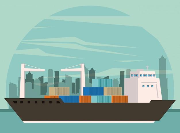 Transportation cargo merchandise ship cartoon Free Vector