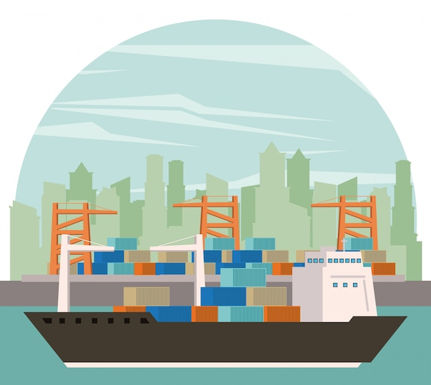 Transportation cargo merchandise ship cartoon Free Vector