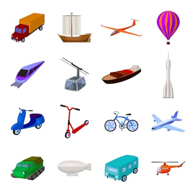 Transportation cartoon set icon. illustration travel transport  . isolated cartoon set icon transportation . Premium Vector