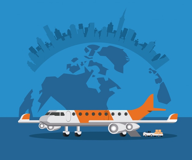 Transportation commercial passengers airplane cartoon Free Vector