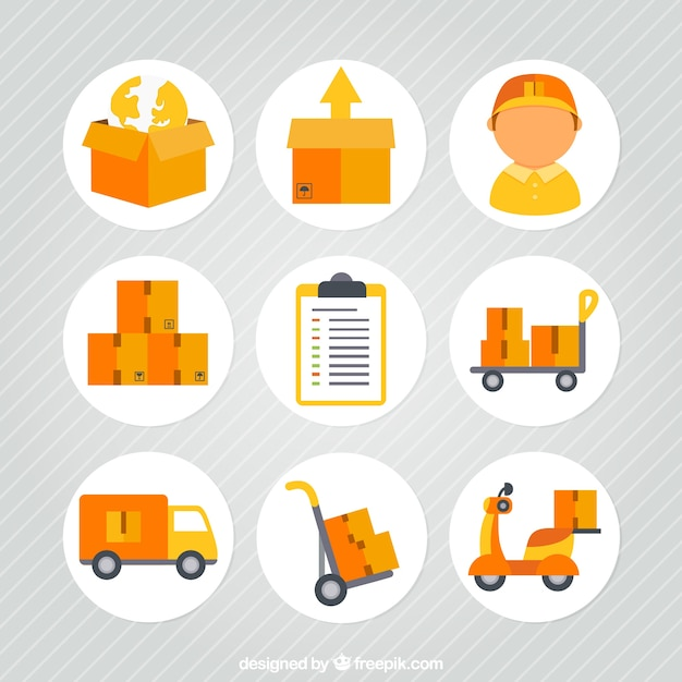 Transportation and delivery icons Free Vector