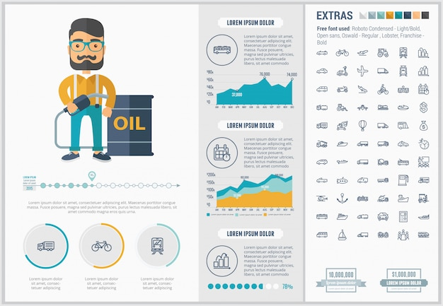 Transportation flat design infographic template and icons set Premium Vector
