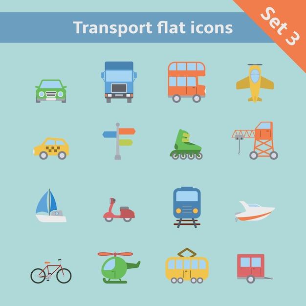 Transportation flat icons set Free Vector