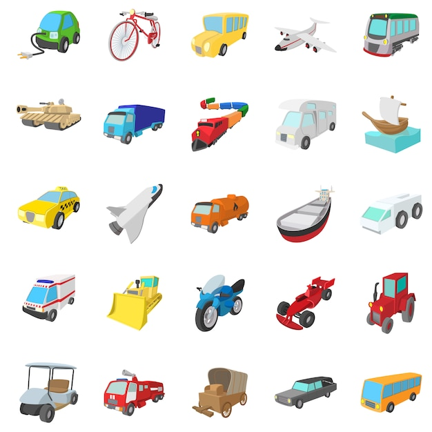 Transportation icons set in cartoon style isolated Premium Vector