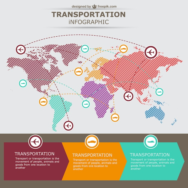 Transportation infographic with a world map vector free download transportation infographic with a world map free vector publicscrutiny