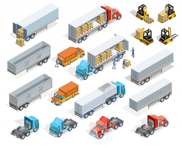 Transportation isometric elements set Free Vector