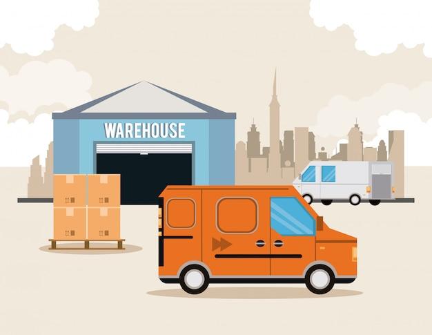 Transportation merchandise logistic cargo cartoon Free Vector