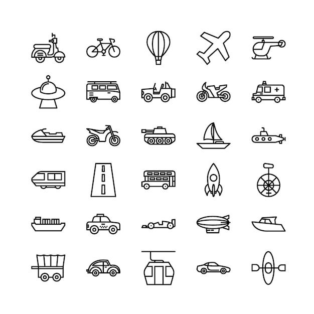 Transportation outline icon set Premium Vector