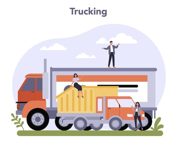 経済の運輸部門。運送業者のロジスティック。 Premiumベクター