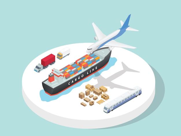 Транспортные услуги сторонняя логистика самолет корабль грузовик поезд с изометрической 3d плоской мультяшном стиле Premium векторы