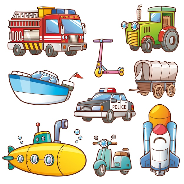 Transportation set Premium Vector
