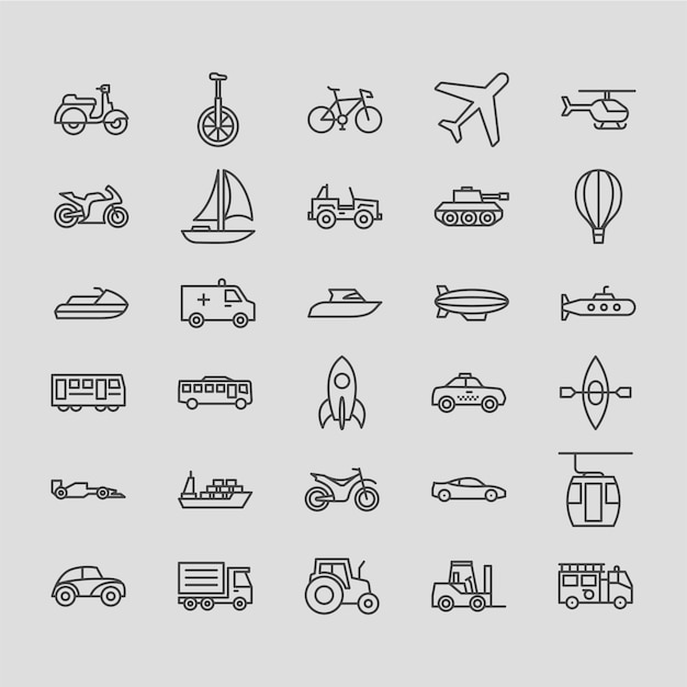 Transportations outline icon set Premium Vector