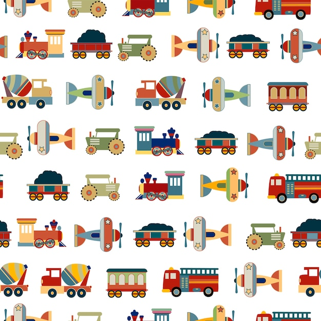 Transportations toys for boys seamless pattern vector design Premium Vector