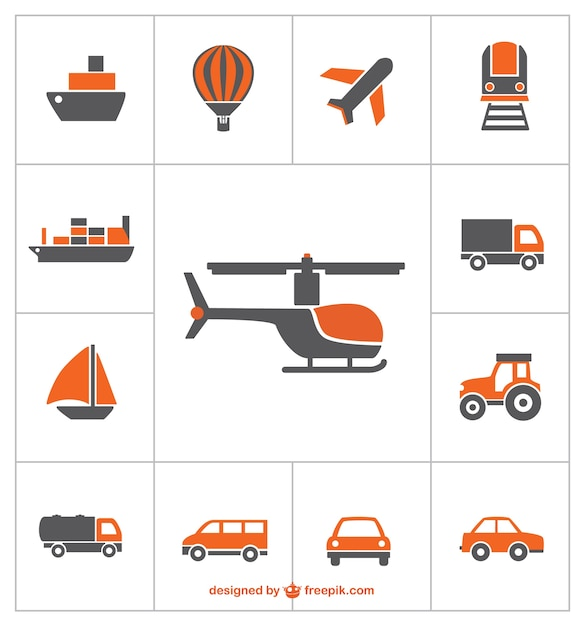 Transports icons Free Vector