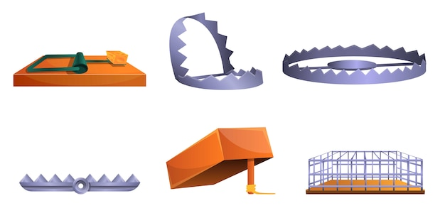 Набор иконок ловушки, мультяшном стиле Premium векторы