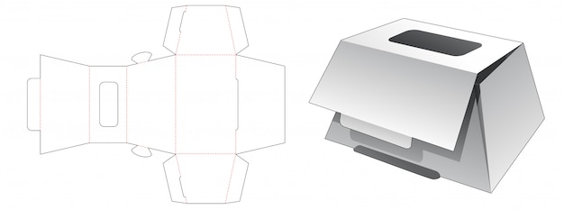 Trapeziod shaped bakery box with top window die cut template Premium Vector