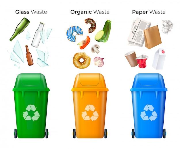 쓰레기와 재활용 유리 및 유기 폐기물 현실적인 격리 설정 무료 벡터