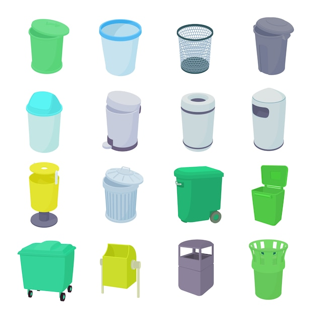Trash bin set icons in isometric 3d style isolated Premium Vector