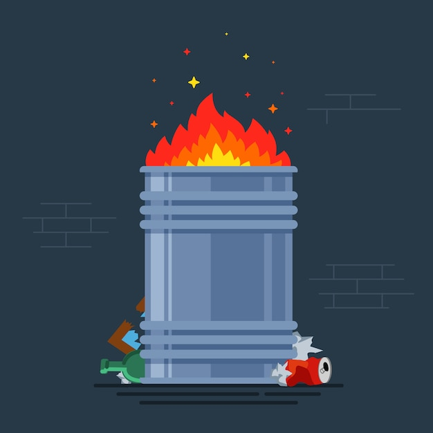 Trash can burns. bonfire for poor people. burning a bunch of monsoon. flat vector illustration. Premium Vector