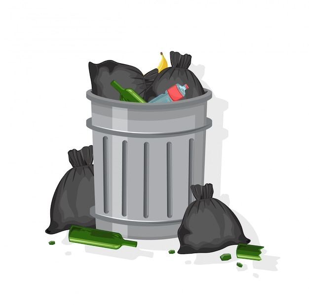 Trash can filled with garbage bags, glasses of wine, plastic bottles and banana peels Free Vector
