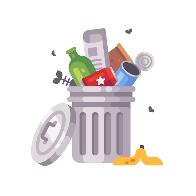 Trash can full of trash. garbage bin with tin cans, bottles, newspaper and banana peel Premium Vector