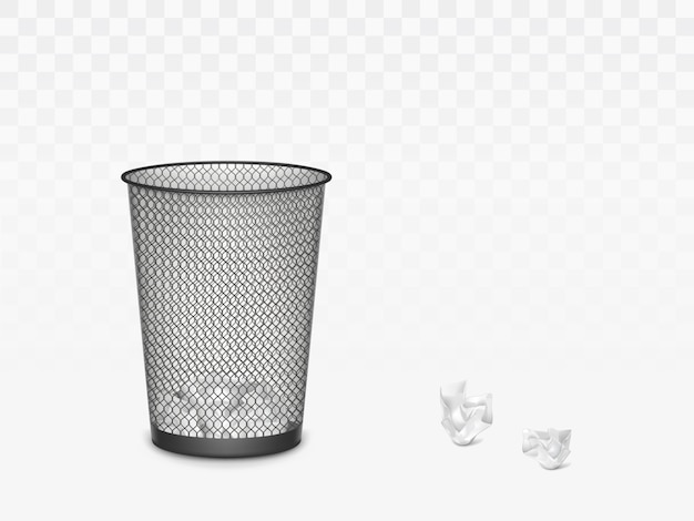 Trash can with crumpled paper inside and around. office, home litter bin for thrown sheets, wastepaper garbage basket isolate. 3d realistic vector illustration, clip art Free Vector