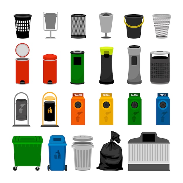 Trash cans colorful icons collection, on white Premium Vector