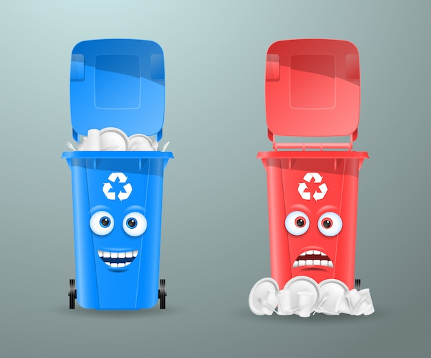 Trash cans in the form of funny characters. Premium Vector