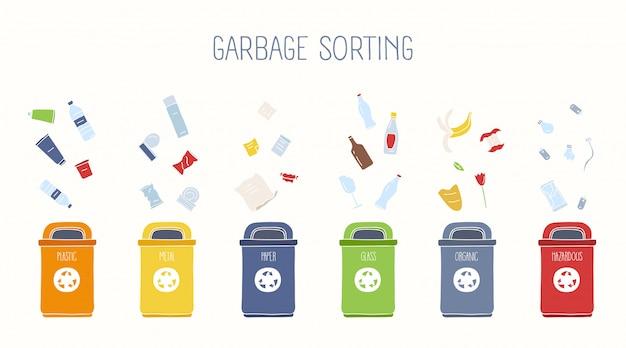 ゴミ箱と各種ゴミ Premiumベクター