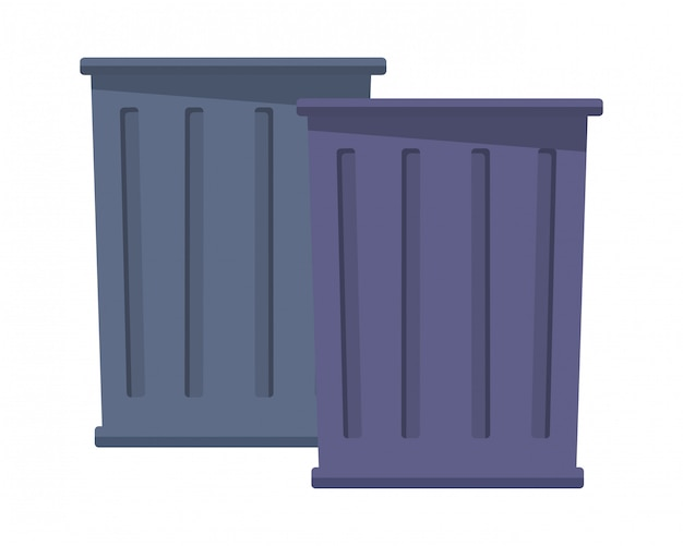 Trash garbage can icon cartoon Premium Vector
