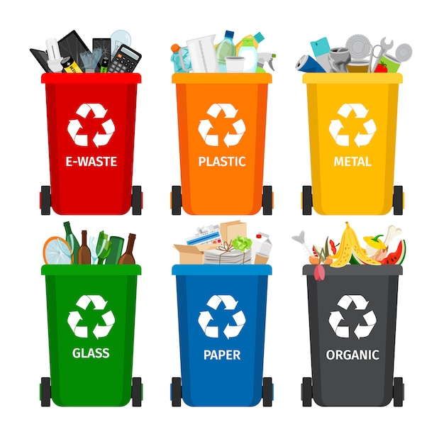 Trash in garbage cans with sorted garbage  icons Premium Vector