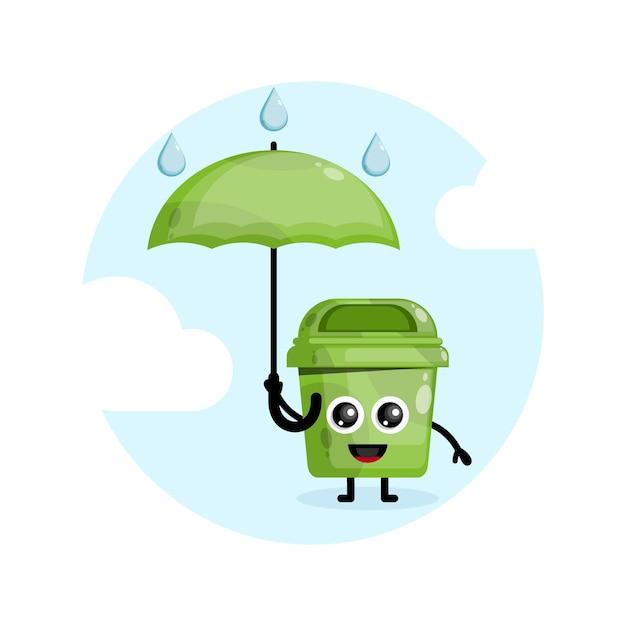 ゴミ傘雨マスコットキャラクターロゴ Premiumベクター