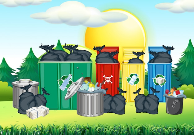 Trashcan in different color in the park Free Vector