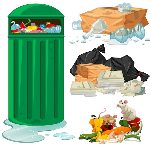 Trashcan and different types of trash Free Vector