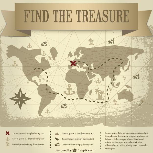 Trasure map vintage design  Free Vector