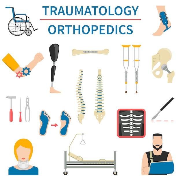 Traumatology and orthopedics icons Premium Vector
