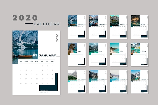 Travel 2020 calendar template Free Vector